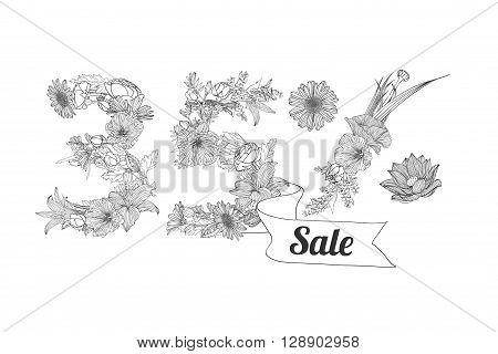 thirty five (35) percents sale. Vector floral linear digits