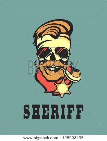vector emblem steep dead sheriff skull in retro style