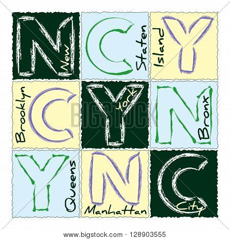 New York city Typography Graphics. Fashion stylish design for sportswear apparel. NYC t-shirt original wear. Districts of NY America. Modern graphic style t shirt print production. Vector illustration
