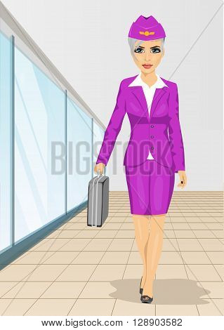 Air hostess walking with flight case isolated over white background