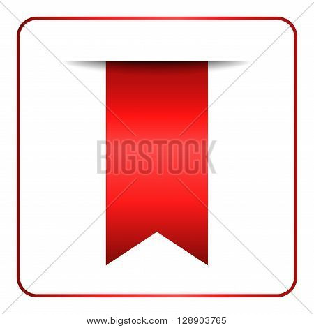 Red bookmark banner. Vertical book mark isolated on white background. Color tag label. Flag symbol sign. Design element blank. Empty sticker for sale. Template icon decoration. Vector illustration.