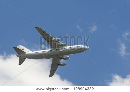 Russian Air Force An-124 Ruslan Fly Over Red Square.