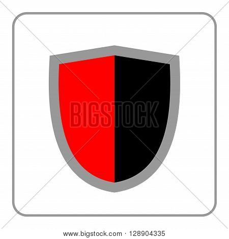 Shield icon. Flat design style. Black and red graphic element isolated on white background. Emblem blank for security protection safety. Banner defense privacy decoration badge. Vector illustration