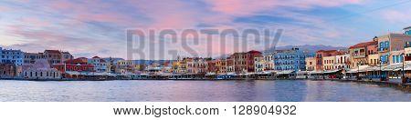 Panorama of Venetian quay with Kucuk Hasan Pasha Mosque at sunrise, Chania, Crete, Greece