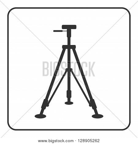 Tripod icon. Sign modern equipment for photography camera. Black silhouette isolated on white background. Symbol of photo technology media industry. Simple flat design concept. Vector illustration.