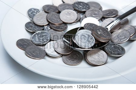 Plate with coins russian rubles close up