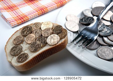 Plate with coins and a slice of bread with coins
