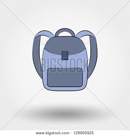 Schoolbag. Icon for web and mobile application. Vector illustration on a white background.