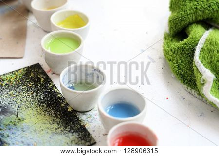 Workshop artistic, painting pigments