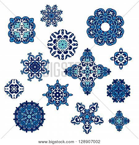 set of vector graphic abstract damask ornamental designs. Luxury royal pattern. Vintage design ornamental tiles. Damask Vector Pattern. Elegant floral abstract elements