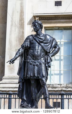 Historic statue of King James II of England also King James VII of Scotland. The sculpture in Trafalgar Square was created by Grinling Gibbons and has been on public display in London since 1686.