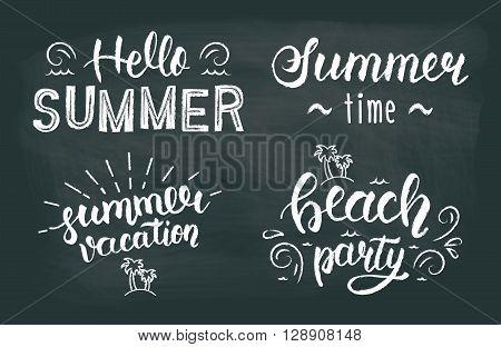 Summer chalk hand lettering set. Summer chalk typographic and calligraphic set. Summer chalk logos and emblems. Vector illustration