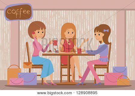Three beautiful friends women with shopping packages talking friendly at coffee shop while drinking coffee vector illustration of coffee break.