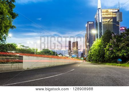 urban road in modern city at twilight