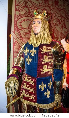 LONDON UK - JUNE 7 2015: Richard Lionheart King of England at Madame Tussauds Wax Museum.