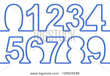 set of numbers from single-line font. 3D rendering isolated on white background