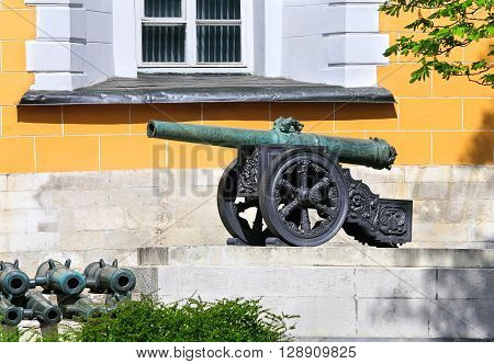 Medieval cast guns at the Arsenal buildings wall of the Moscow Kremlin