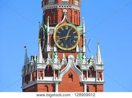 Spasskaya tower of Moscow Kremlin with roman dial clock