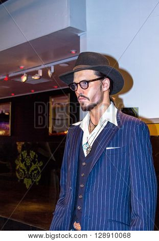 LONDON UK - JUNE 7 2015: Johnny Depp the actor Madame Tussauds wax museum in London. Marie Tussaud was born as Marie Grosholtz in 1761