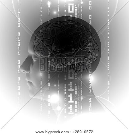 Concept of Active Human Brain with Binary Code Stream. Abstract Human Brain with Binary Digits. Brain Vector Illustration.