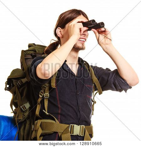 Man Tourist Backpacker Looking Through Binoculars.