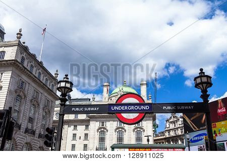 LONDON - JUNE 7 2015: Underground tube station sign at Piccadilly Circus London UK.