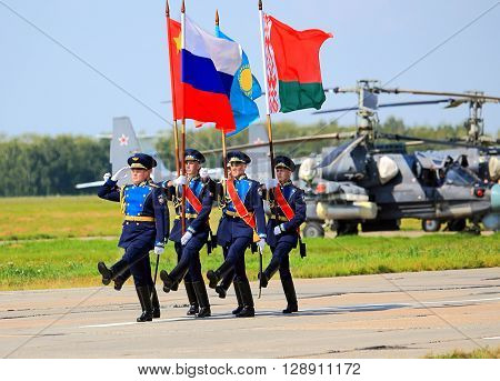 RYAZAN REGION  -  JULY 27: Military ceremonial formation during the opening ceremony of the international competitions of the Air Force