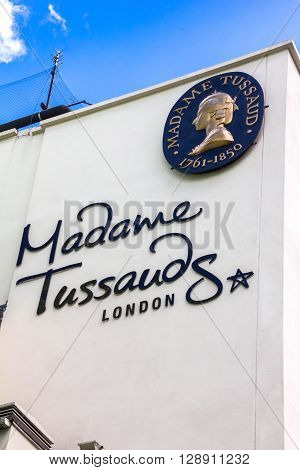 LONDON UK - JUNE 7 2015: Building detail of Madame Tussauds on Marylebone Road