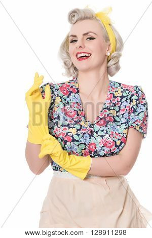 Happy Fifties Housewife Putting On Rubber Gloves, Humorous Concept, Isolated On White
