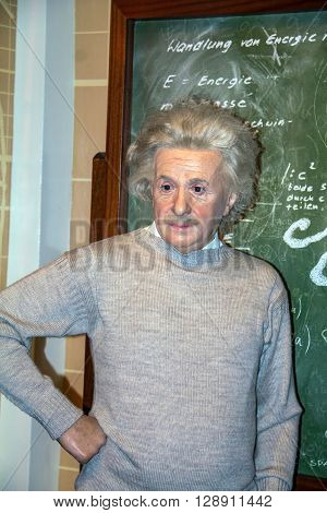 LONDON - JUNE 7 2015: Albert Einstein the scientist at the Madame Tussauds museum in London. Marie Tussaud was born as Marie Grosholtz in 1761.