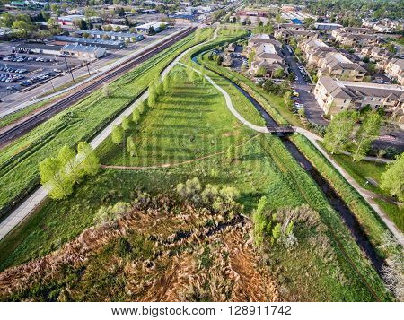 aerial view of bike trails and green areas in Fort Collins, Colorado, spring scenery