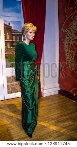 LONDON UK - JUNE 7 2015: Lady D Princess Diana Madame Tussauds museum in London. Marie Tussaud was born as Marie Grosholtz in 1761