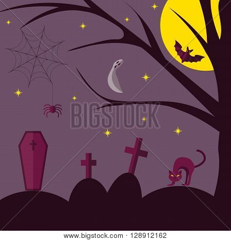 Halloween. Vector illustration on a white background. Flat design style.