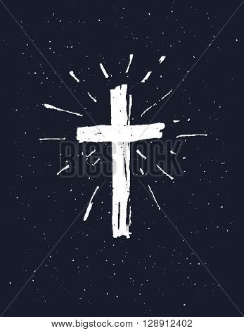 Hand drawn white grunge cross, simple Christian cross sign, isolated on white background.