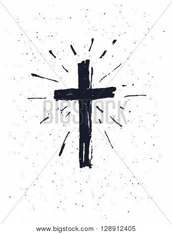Hand drawn black grunge cross, simple Christian cross sign, isolated on white background.