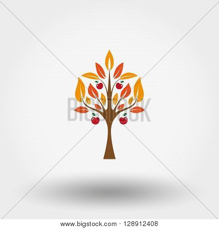 Tree. Autumn apple tree. Icon set for web and mobile application. Vector illustration on a white background. Flat design style.
