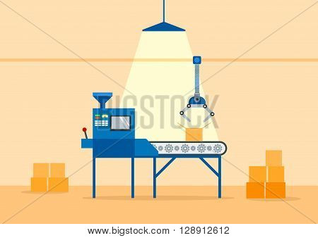 Conveyor Machine in Factory - flat vector illustration. Manufacture and packaging on factory by conveyor belt. Products fabricated on conveyor system.