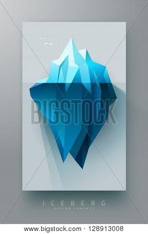 iceberg polygonal design banner, simple with shadow