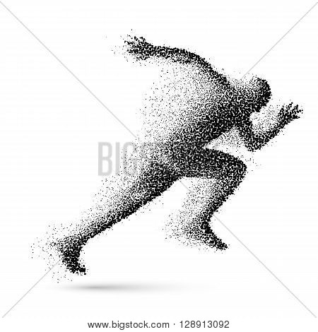 Running Man in the Form of Black Particles