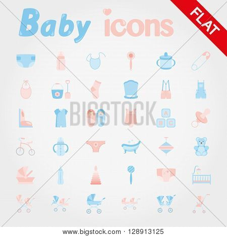 Baby. Icon set for web and mobile application. Vector illustration on a white background. Flat design style.