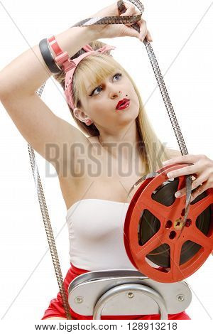a sexy pinup with a film reel isolated on white