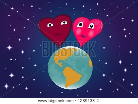 Two enamored hearts are on the globe, against the starry cosmos