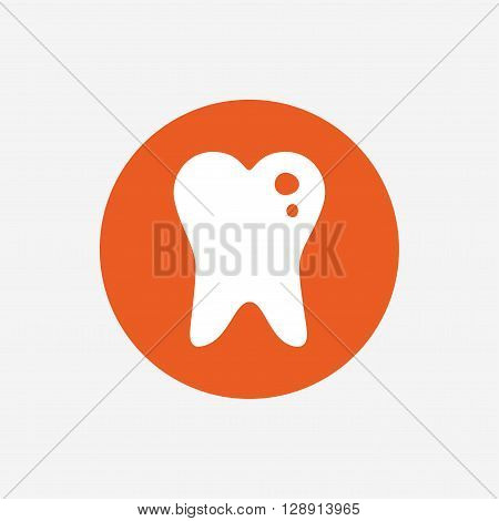 Caries tooth icon. Tooth filling sign. Dental care symbol. Orange circle button with icon. Vector