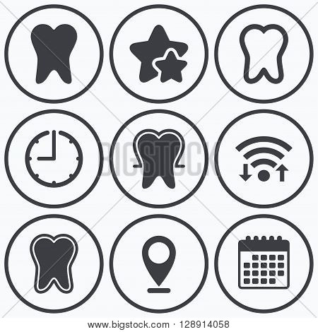 Clock, wifi and stars icons. Tooth enamel protection icons. Dental care signs. Healthy teeth symbols. Calendar symbol.