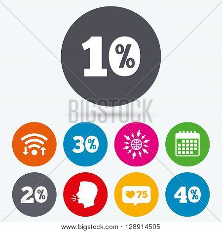 Wifi, like counter and calendar icons. Sale discount icons. Special offer price signs. 10, 20, 30 and 40 percent off reduction symbols. Human talk, go to web.