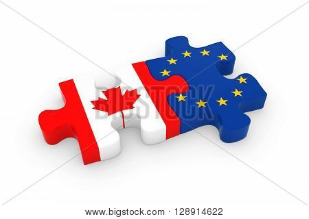 Canada And Eu Puzzle Pieces - Canadian And European Flag Jigsaw 3D Illustration