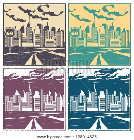stylized vector illustration of city and highway