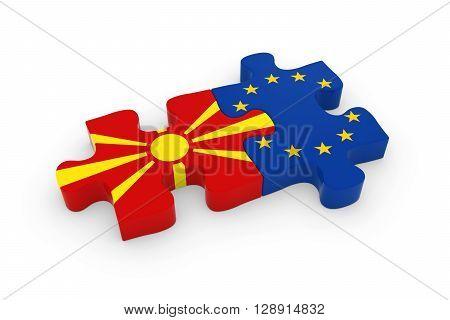 Macedonia And Eu Puzzle Pieces - Macedonian And European Flag Jigsaw 3D Illustration