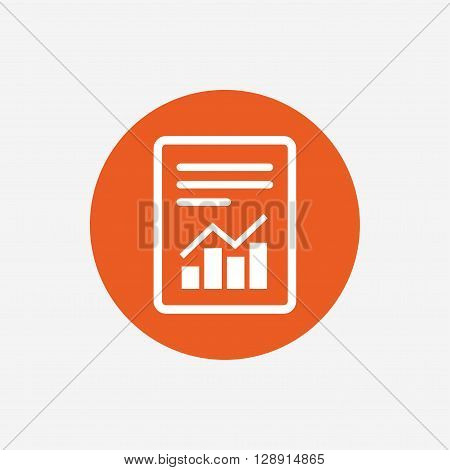 Text file sign icon. Add File document with chart symbol. Accounting symbol. Orange circle button with icon. Vector