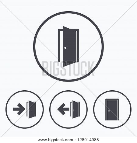 Doors icons. Emergency exit with arrow symbols. Fire exit signs. Icons in circles.